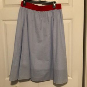 LuLaRoe Blue and White Striped Lola with red Band